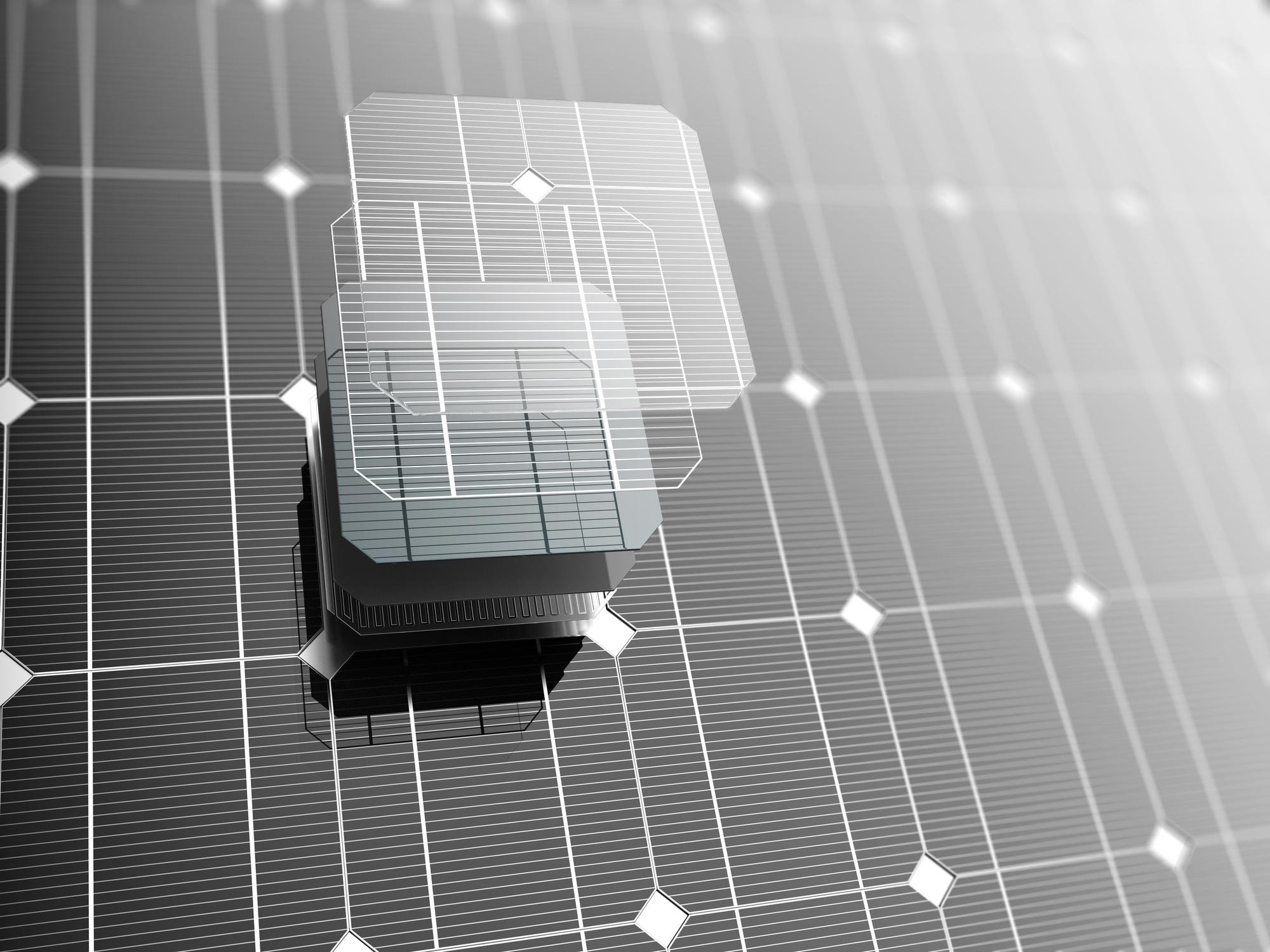 태양전지 사진 1 태양전지 셀 하나를 확대한 예 출처 GIB
